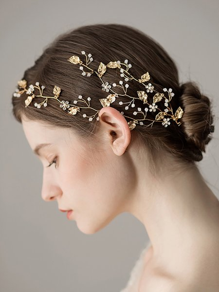 Vintage Gold Rhinestones Flower and Leaves Handmade Headband make up party Bridal Headpiece Wedding Hair Accessories for women