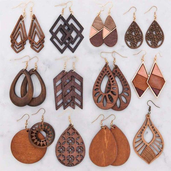 top popular Dark Brown Hipster Earrings Laser Cut Wooden Earrings 2021