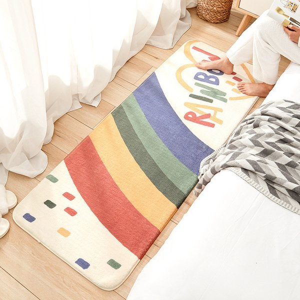 top popular The High Quality Children Play Mats Colorful Rainbow Printed Soft Anti-slip Baby Long Bedroom Floor Carpet 2021