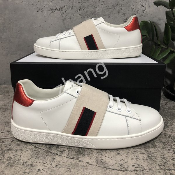 top popular 2021With Box Top Quality Mens Womens Shoe Bee Snake Tiger Casual Genuine Leather Shoes Embroidery Classic Trainers Python Embroidered Lover Sneakers 2021