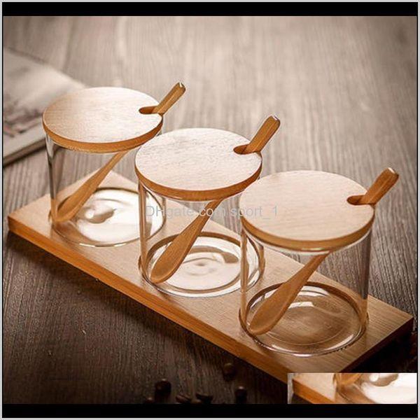 top popular Jars Aents Décor Home & Garden Drop Delivery 2021 3Pcs Set Creative Transparent Glass Kitchen Spice Jar Three-Piece Storage Tank Seasoning Bo 2021