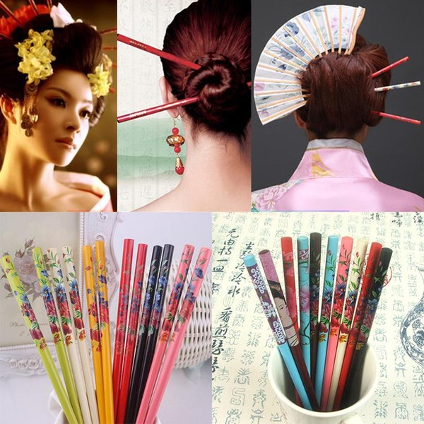 Ethnic Style Handmade Hair Stick 2PCS Chopsticks Style Vintage Painting Hairpin Colorful Wooden Flower Bride Japanese Print