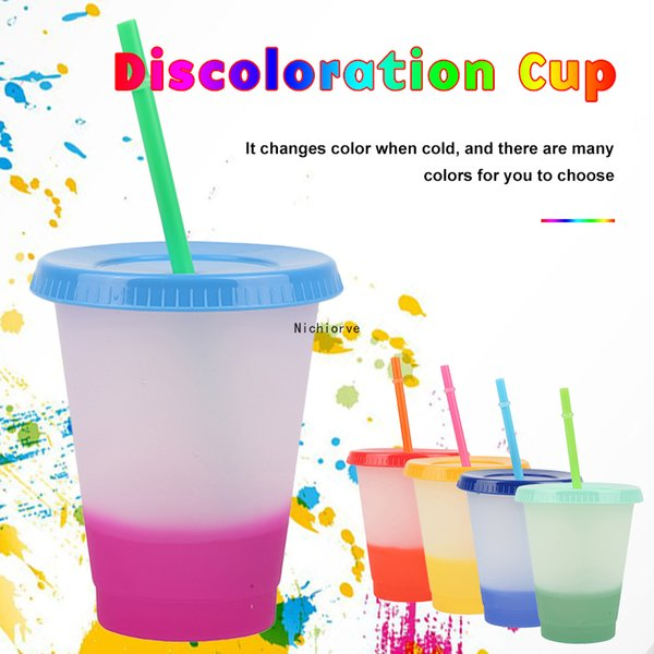 473ml/16oz Color Changing Cold Cups Reusable Plastic Tumbler With Lid And Straw Cold Cup Straw Cup Drinkware Kitchen Gadgets