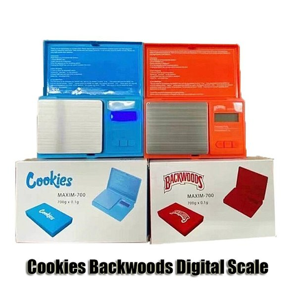 best selling Cookies Backwoods Digital Scale Red Blue Accurate 700g 0.1g Jewelry Gold Tobacco Stash Weight Vapes Measurement Device Flip Style Measure Kit
