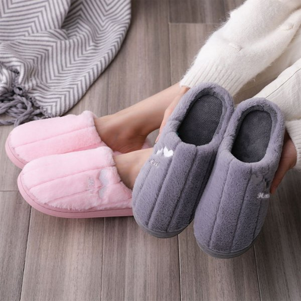 Furry Slippers Female Winter Home Indoor Thermal Home Autumn And Winter Thick-soled Cotton Slippers Non-slip Plush Slippers Men