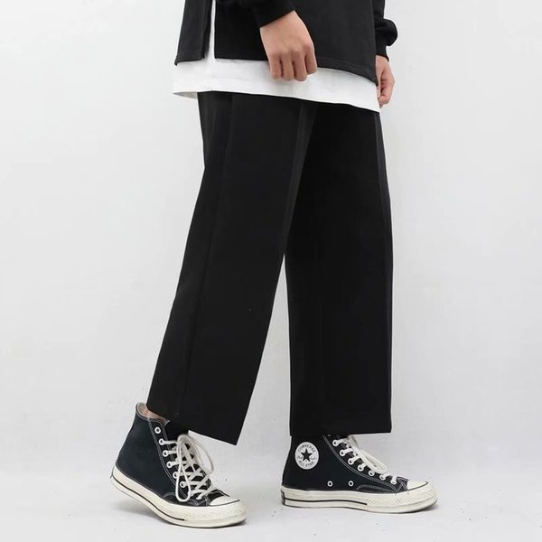 Solid Black Men Casual Pants Straight Mid Waist Loose Drawstring Pockets Daily All-match Streetwear Mens Clothing Chic Bottom Mens Clothing Mens Pants Plus Size