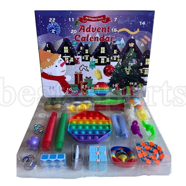 best selling 24pcs Set Christmas Fidget Toys Advent Calender Blind Box Gifts Simple Dimple Decompression Toy Push Bubbles Kids Xmas Gift ZZA3409 Ship By Sea