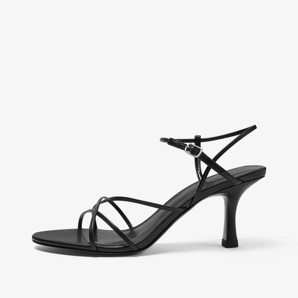 women's shoes 2021 summer simple slanting strap high heel open toe sandals women stiletto for lady black heels