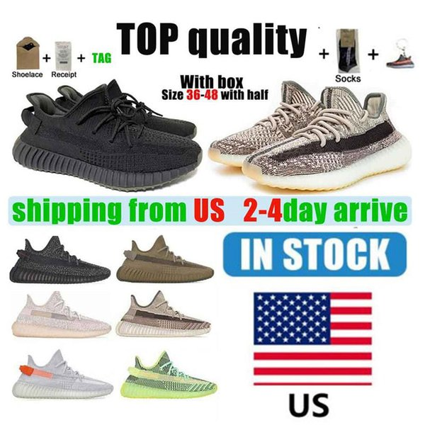 top popular Warehouse In US 2021 Kanye Mens Womens Running Shoes Cinder Zebra Clay Tail Light Reflective Women Cream White Sport Size 36-48 With Half And 2021