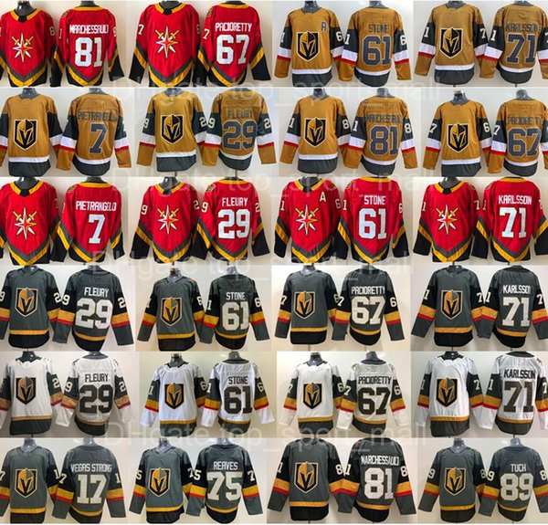 best selling Reverse Retro Vegas Golden Knights Jersey Alex Pietrangelo Marc-Andre Fleury William Karlsson Mark Stone Max Pacioretty Ryan Reaves Jonathan Marchessault Hockey