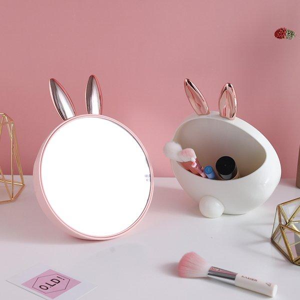 Rabbit Design Makeup Organizer with Mirror Makeup Brush Cosmetic Organizer Case Nail Polish Jewelry Desktop Makeup Storage Box