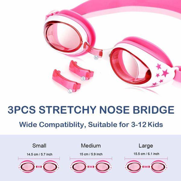 top popular Swimming Goggles Silicone Nose Clip Ears Plug Shark Swim Cap Set Kids Girls Anti Fog Eyewear Swimming Glasses Children Age 3-12 2021