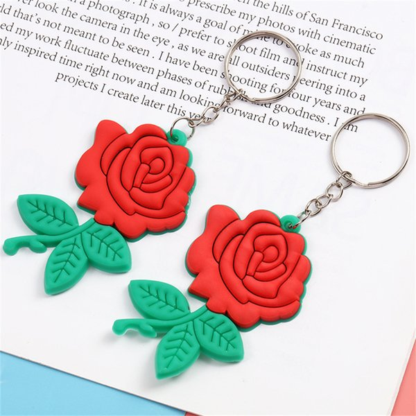New Exquisite Soft PVC Rose Flower Keychain Cute Bag Ornaments Love Keyring Fashion Accessories Couple Gifts Fashion Accessories Keychains Key Rings