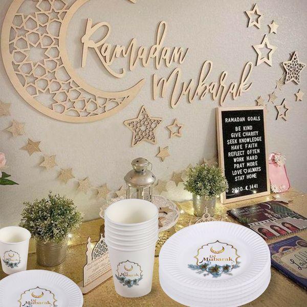 top popular Eid Mubarak Tableware Banner Ramadan Karim Islamic Muslim Party Decor Ramadan Decoration Islam Eid Mubarak Al Adha DIY Gifts 2021