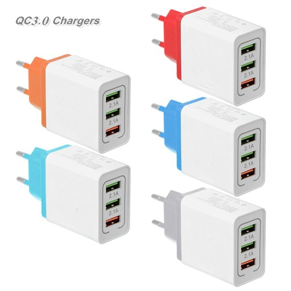best selling Colorful 3USB Adapter Quick Charger US EU Plug Wall Chargers Plugs 3Ports 2.1A-3.1A for Smart Cellphone