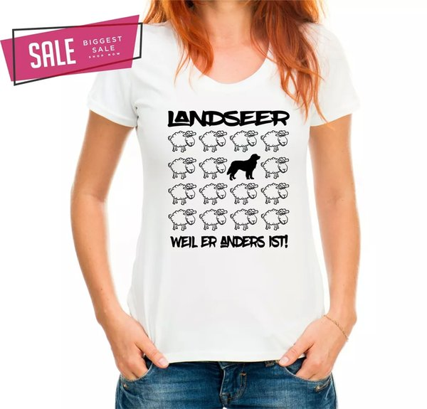 SALE Landseer Sheep Dog Motif Ladies T-Shirt Dog XL Black Sheep