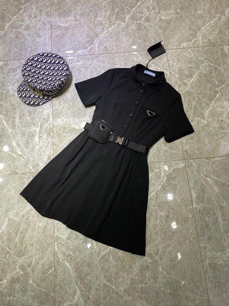 top popular 2021 designer leisure dress women skirt Paris Fashion Week limited edition Inverted triangle logo badge on chest Lapel Slim Star Same Style summer tops 2021