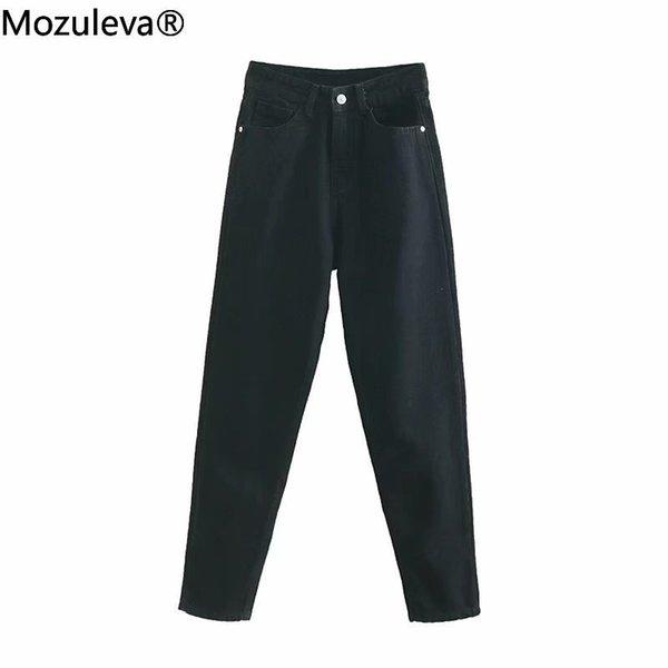 2011Mozuleva 2021 Autumn Winter Cotton Full Length Pockets High Waisted Jeans Regular Woman Denim Jeans Female
