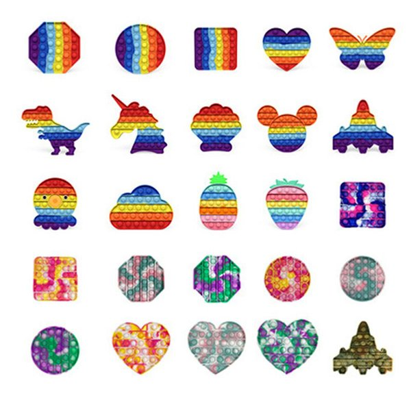 top popular Rainbow Watermark Camouflage Pop Fidgets Toys Party Sensory Dinosaur Airplane Push Bubble Decompression Special Needs Anxiety Reliever Office Workers 2021