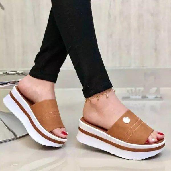 Women Slippers Flats Platform Sandals Ladies Summer Shoes Casual Footwear Plus Size Female Slides Peep Toe Beach Outdoor