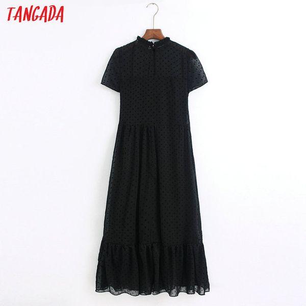 Женская одежда платья тангада 2021 мода женские точки черные платья оборками воротник с коротким рукавом дамы элегантное MIDI платье Vestidos 6Z38