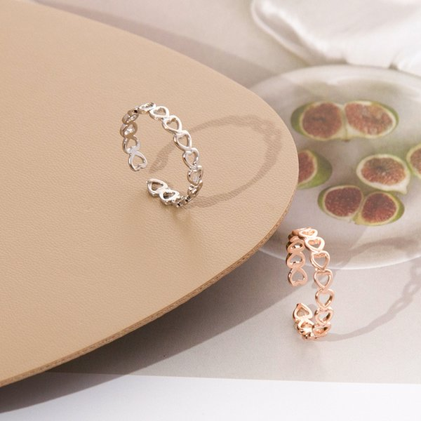 ashion Jewelry Rings LATS Gold Silver Color Hollowed-out Heart Shape Open Ring Design Cute Fashion Love Jewelry for Women Girl Child Gift...