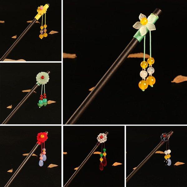 Classic Flower Tassel Handmade Hair Sticks Hair Chopsticks Chinese Bridal Wood Hairpins Hair Clip Wedding Jewelry For Women