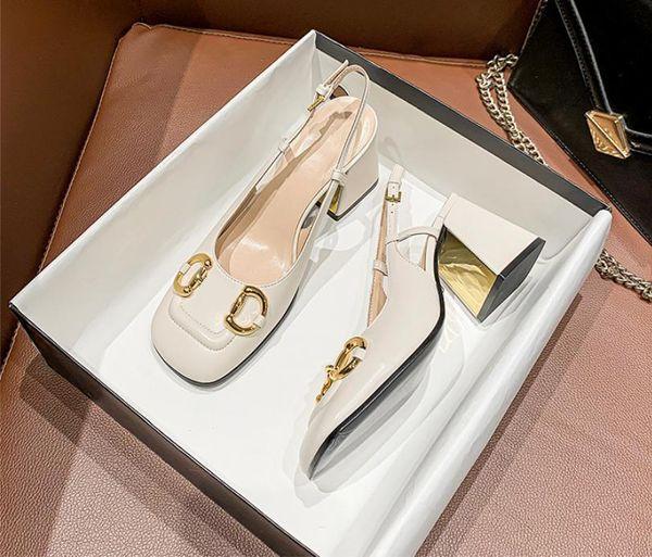 best selling Top Quality Women Shoes buckle Sandals square toes Designer Heels 2CM 5CM 7CM Wedding Sandal With Original Box