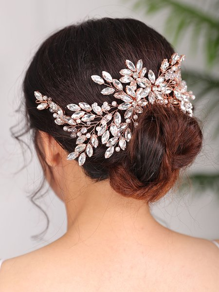 2021 New Arrival Rose gold Headpieces Rhinestone Hair comb tiara Wedding Hairstyles Jewellery Bridal Hair Accessories for women