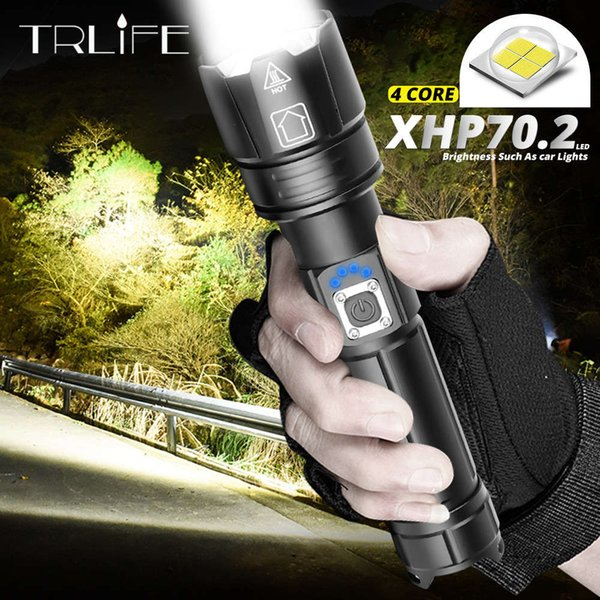 best selling Ultra Most Powerful LED Flashlight XLamp XHP70.2 USB Rechargeable XHP50 Tactical Light 18650 26650 Zoom Led Torch Camping Lamp 201207