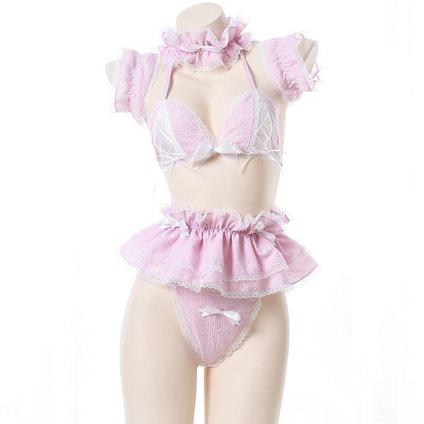 Lolita Cute Maid Uniform Kawaii Anime Bikini Set Sexy Anime Cosplay Costumes Outfit for Woman Bikini Sailor School Girl Dress