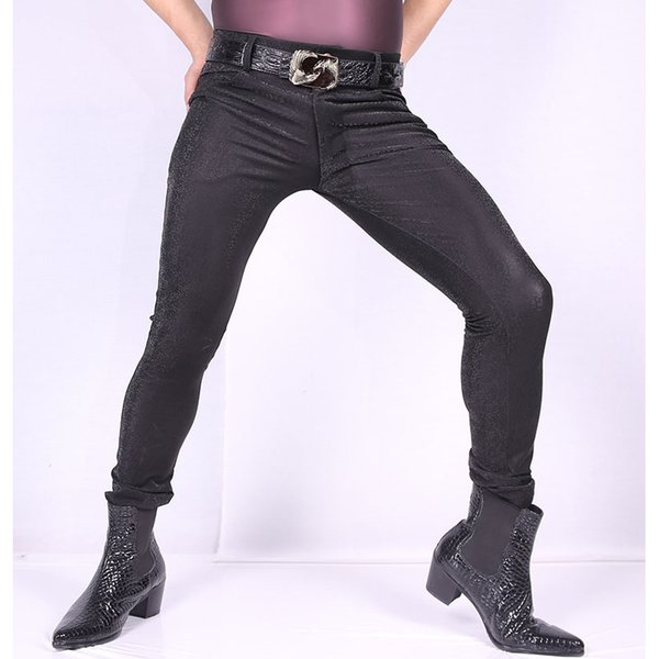 Sexy Male Fashion 3D Camouflage Lattice Casual Leg Pants Hair Stylist PU Thin Leather Skinny Jeans Faux Leather Man Pencil Pants