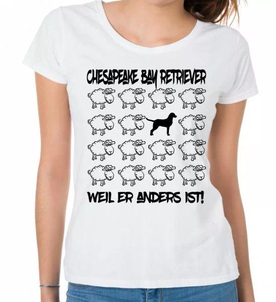 Chesapeake Bay Retriever Ladies T-Shirt Black Sheep by siviwonder