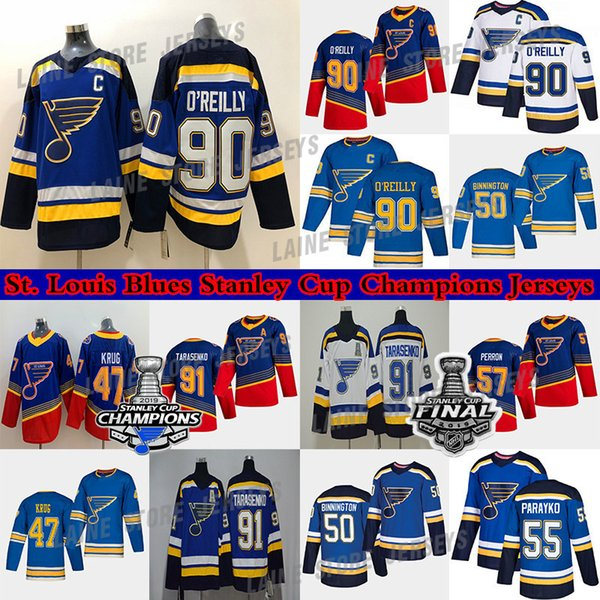 top popular St. Louis Blues jersey Stanley Cup Champions 90 Ryan O'Reilly 50 Binnington 91 Tarasenko 47 Torey Krug Schwartz Parayko Schenn hockey jerseys 2021