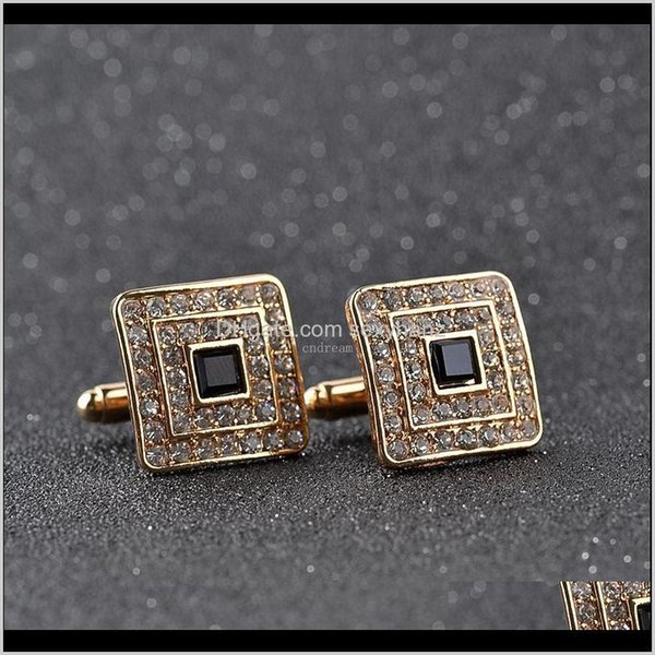 best selling Square Diamond Cufflinks Gold Formal Shirts Business Suits Cuff Links Button Men Fashion Jewelry Will And Sandy Cpgqu 87Agd