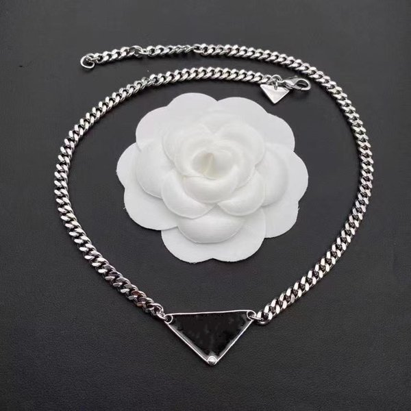 best selling Luxury designer Necklace fashion jewelry women chain stainless steel silver black white pendants triangle charm lovers high end design jewellery mens necklaces