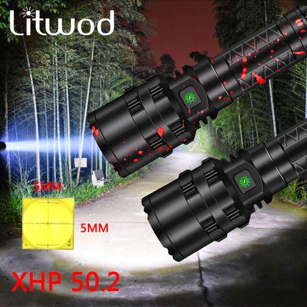 top popular XHP50.2 High Power LED Flashlight light powerful Tactical Aluminum Hunting Torch light Waterproof 18650 26650 battery 5 Modes 201207 2021