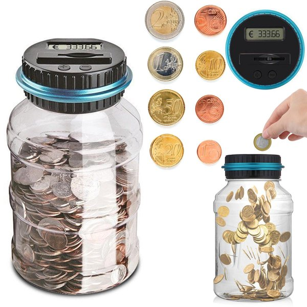 top popular 1.8L Piggy Bank Counter Coin Electronic Digital LCD Counting Coin Money Saving Box Jar Coins Storage Box 2021