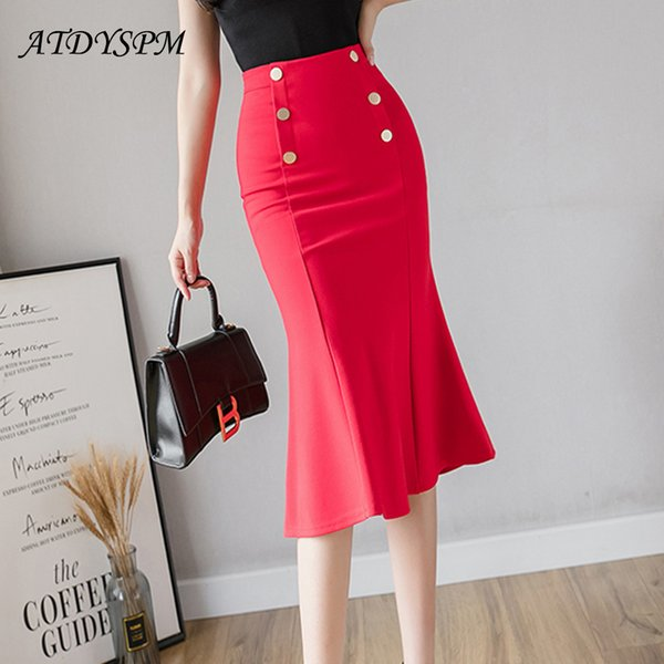 Womens Skirts 2021 New Fashion Plus Size Midi Skirts Elastic Bodycon Package Hip Skirt For Women Elegant Office Mermaid Skirts