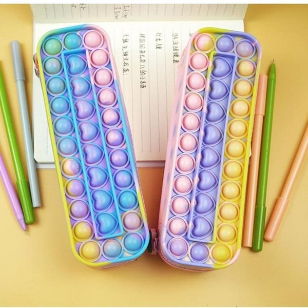 best selling Pencil-case Children's Rainbow Push Bubble Silicone Large Capacity Student's Storage Stationery Box Toys Pioneer Sensory Fidget Decompression Collectable