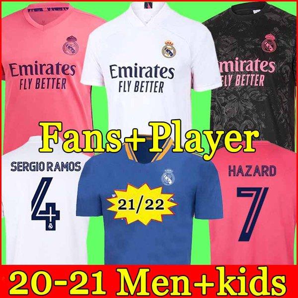 top popular REAL MADRID jerseys 20 21 soccer jersey HAZARD SERGIO RAMOS BENZEMA VINICIUS camiseta football shirt uniforms men + kids kit 2021 2021