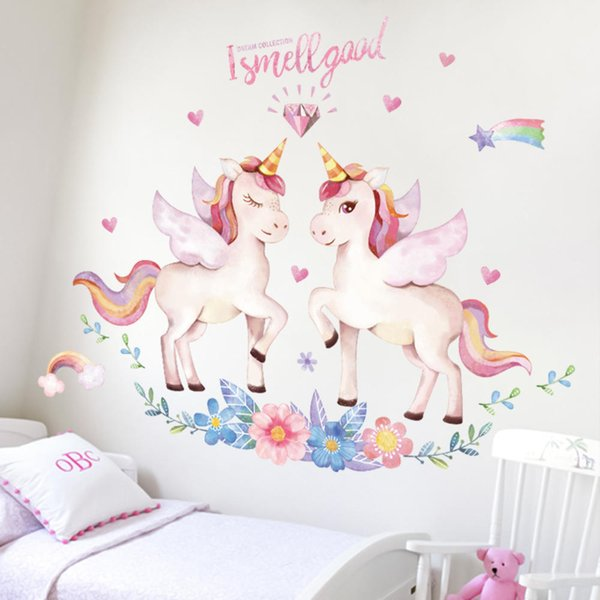 Cartoon Unicorn Wall Stickers for Kids Room Decor Girls Bedroom Decoration Posters Cute Animals Wallpaper Stickers on the Wall