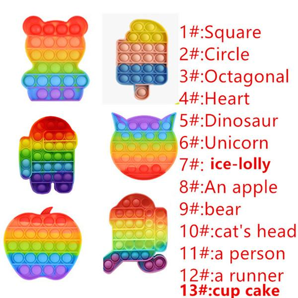top popular Rainbow Colorful Decompression pop Toys Bubble Sensory Toy Autism Anxiety Stress Reliever for Students Office Workers 2021