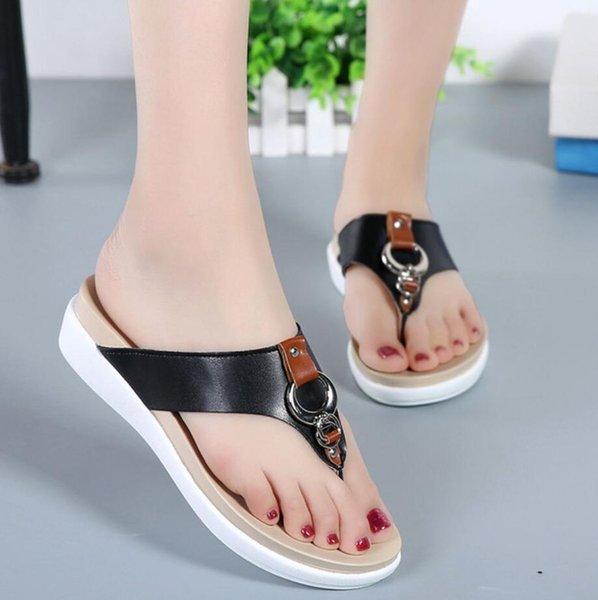 Genuine leather ladies slippers thick bottom ladies comfortable flip-flops ladies summer shoes leather sandals women flat sandal
