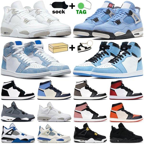 best selling Basketball Shoes men women 1s 4s high OG 1 Hyper Royal University Blue Dark Mocha Twist Cement White Oreo Black Cat mens sneakers