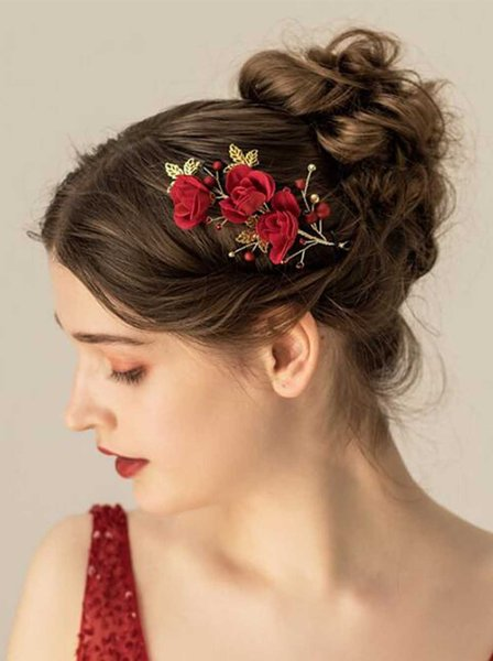 Women flower Leaves Gold Headband Bridal Red Flower Hair Jewelry for Wedding and Party