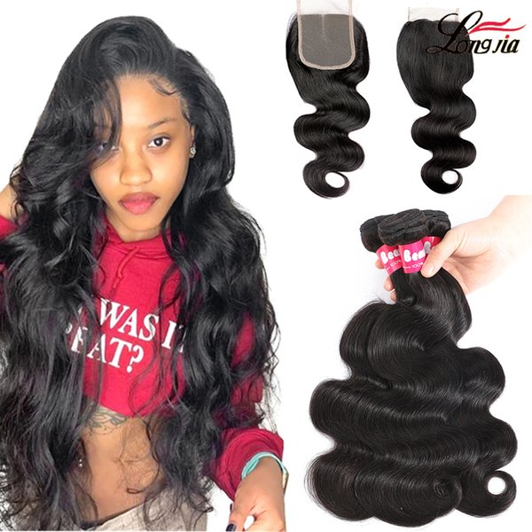 top popular Brazilian Body Wave Human Hair Bundles With Lace Closure 4x4 Lace Closure With Straight Hair Bundles loose deep water Wave 2021