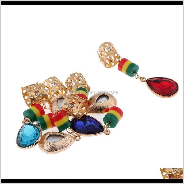 best selling Sprays Care & Styling Tools Products Drop Delivery 2021 6Pcs Hair Cuffs Colorful Dreadlock Beads For Diy Hairstyle Braids Ponytail M43Vy