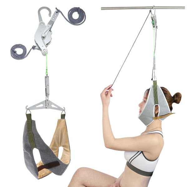 top popular Cervical Traction Over Door Neck Device Kit Stretcher Adjustment Chiropractic Back Head Massager Relaxation Pain Relief 2021
