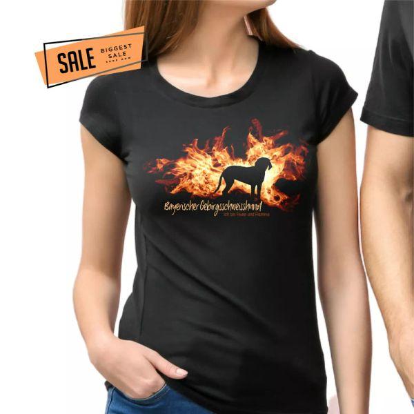 SALE Bavarian Mountain Welding Dog BGS Fire Flame Ladies T-Shirt Dog L